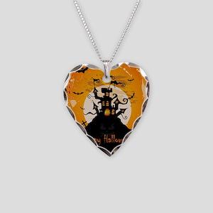 Castle On Halloween Night Necklace Heart Charm