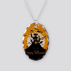 Castle On Halloween Night Necklace Oval Charm