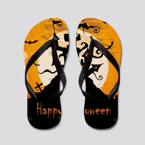 Castle On Halloween Night Flip Flops