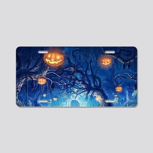 Halloween Night In Cemetery Aluminum License Plate
