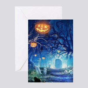 Halloween Night In Cemetery Greeting Cards