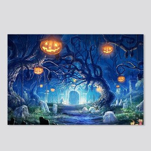 Halloween Night In Cemetery Postcards (Package of