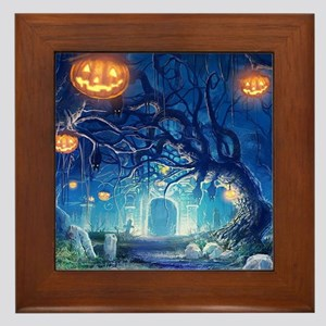Halloween Night In Cemetery Framed Tile