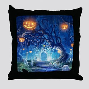 Halloween Night In Cemetery Throw Pillow