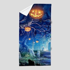 Halloween Night In Cemetery Beach Towel