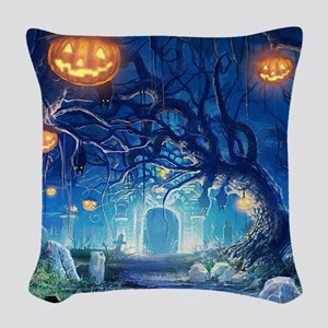 Halloween Night In Cemetery Woven Throw Pillow