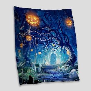 Halloween Night In Cemetery Burlap Throw Pillow