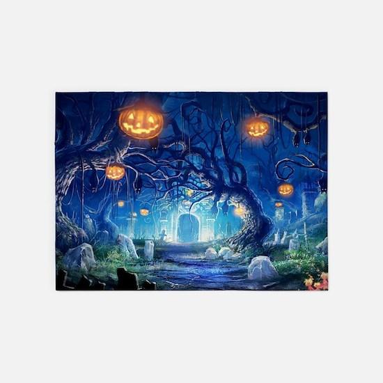 Halloween Night In Cemetery 5'x7'Area Rug