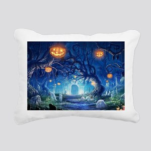 Halloween Night In Cemetery Rectangular Canvas Pil