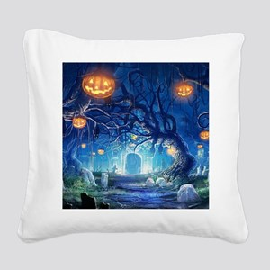 Halloween Night In Cemetery Square Canvas Pillow