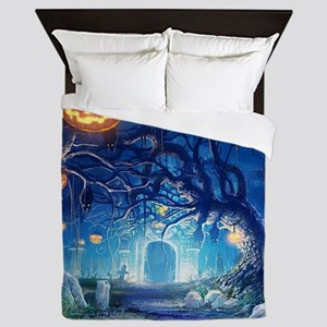 Halloween Night In Cemetery Queen Duvet