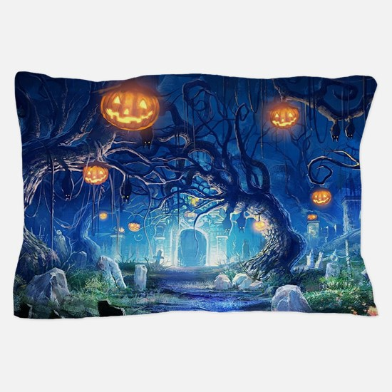 Halloween Night In Cemetery Pillow Case
