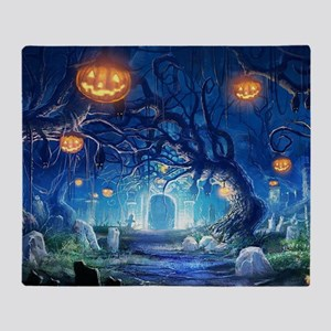Halloween Night In Cemetery Throw Blanket