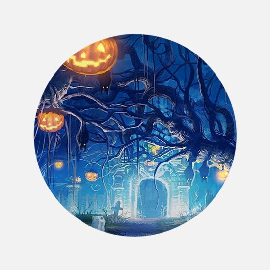 Halloween Night In Cemetery Button