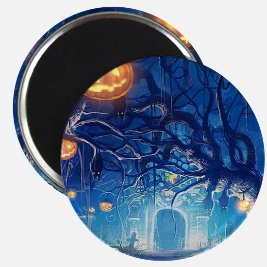 Halloween Night In Cemetery Magnets