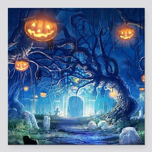 """Halloween Night In Cemetery Square Car Magnet 3"""" x"""