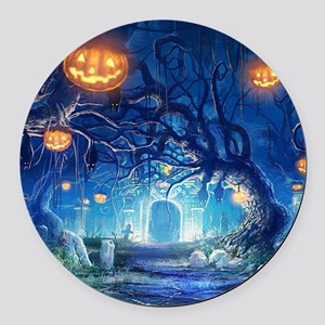 Halloween Night In Cemetery Round Car Magnet