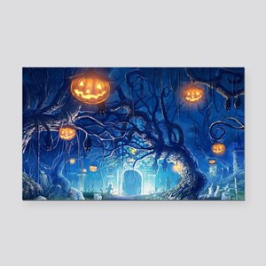 Halloween Night In Cemetery Rectangle Car Magnet
