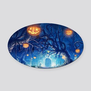Halloween Night In Cemetery Oval Car Magnet