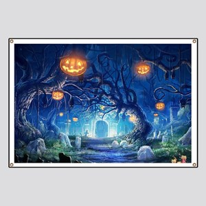 Halloween Night In Cemetery Banner