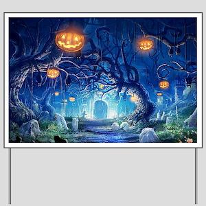 Halloween Night In Cemetery Yard Sign