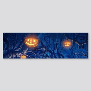 Halloween Night In Cemetery Bumper Sticker
