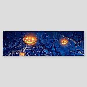 Halloween Night In Cemetery Bumper Sticker