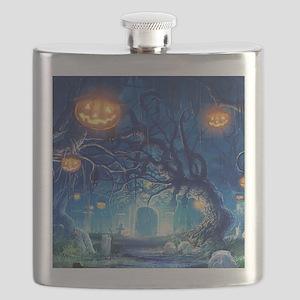 Halloween Night In Cemetery Flask