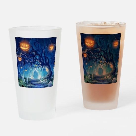 Halloween Night In Cemetery Drinking Glass