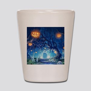 Halloween Night In Cemetery Shot Glass