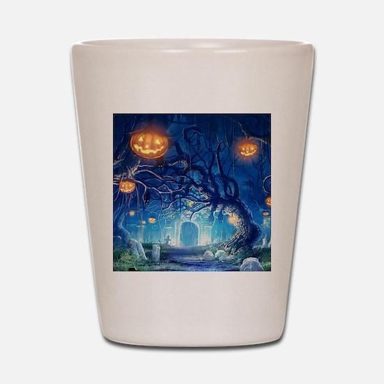 Halloween Night In Cemetery Shot Glass