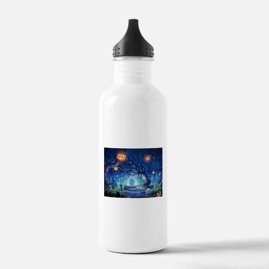 Halloween Night In Cemetery Sports Water Bottle