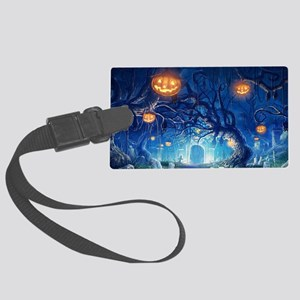Halloween Night In Cemetery Large Luggage Tag
