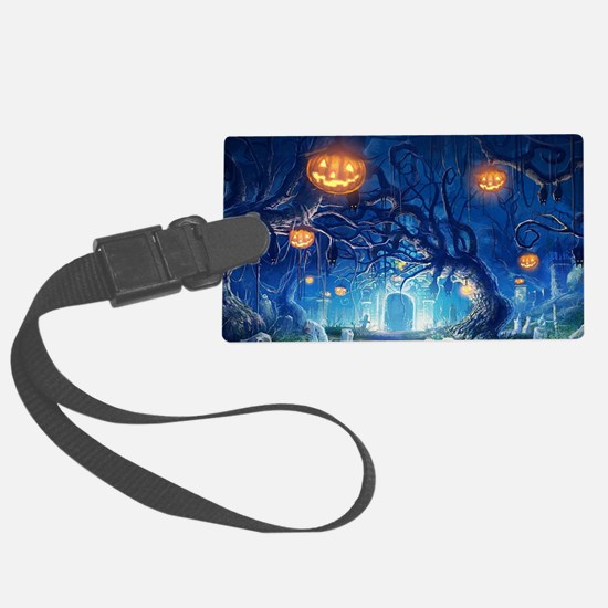 Halloween Night In Cemetery Luggage Tag