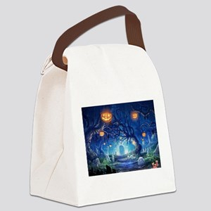 Halloween Night In Cemetery Canvas Lunch Bag