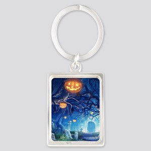 Halloween Night In Cemetery Keychains