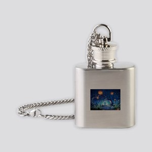 Halloween Night In Cemetery Flask Necklace