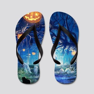 Halloween Night In Cemetery Flip Flops