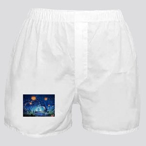 Halloween Night In Cemetery Boxer Shorts