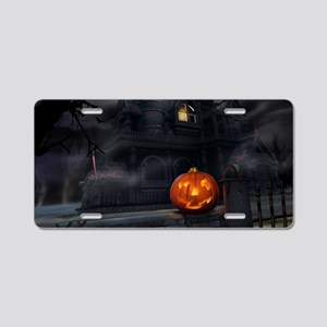 Halloween Pumpkin And Haunted House Aluminum Licen