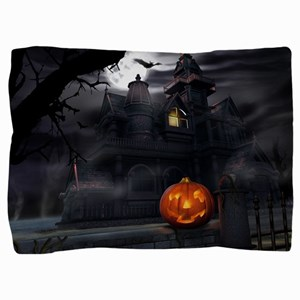 Halloween Pumpkin And Haunted House Pillow Sham