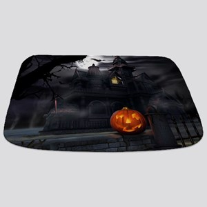 Halloween Pumpkin And Haunted House Bathmat