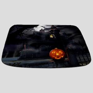 Halloween Pumpkin And Haunted House Bathmat