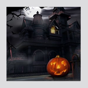 Halloween Pumpkin And Haunted House Tile Coaster