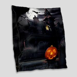 Halloween Pumpkin And Haunted House Burlap Throw P