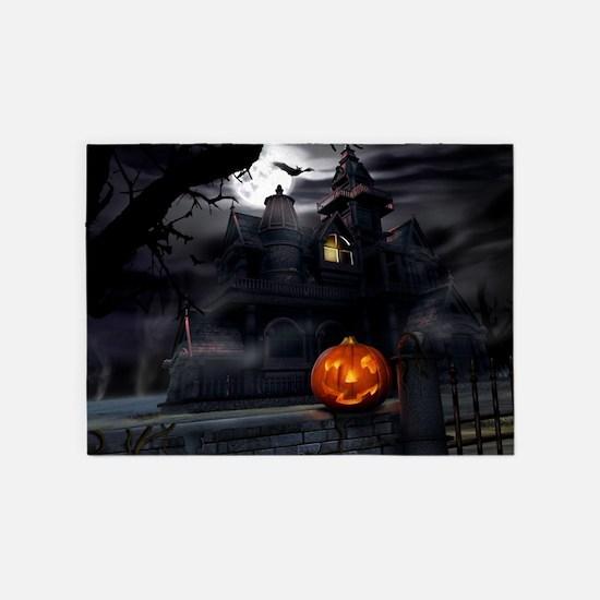Halloween Pumpkin And Haunted House 5'x7'Area Rug