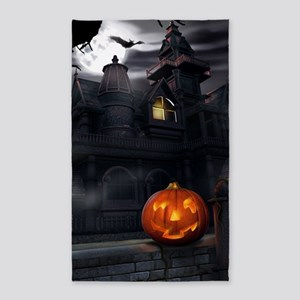 Halloween Pumpkin And Haunted House Area Rug