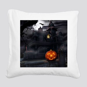 Halloween Pumpkin And Haunted House Square Canvas