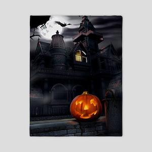 Halloween Pumpkin And Haunted House Twin Duvet