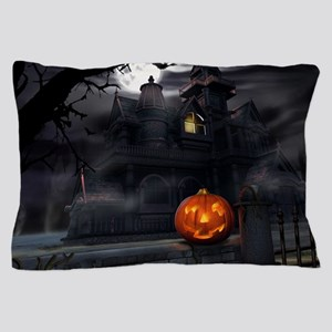 Halloween Pumpkin And Haunted House Pillow Case